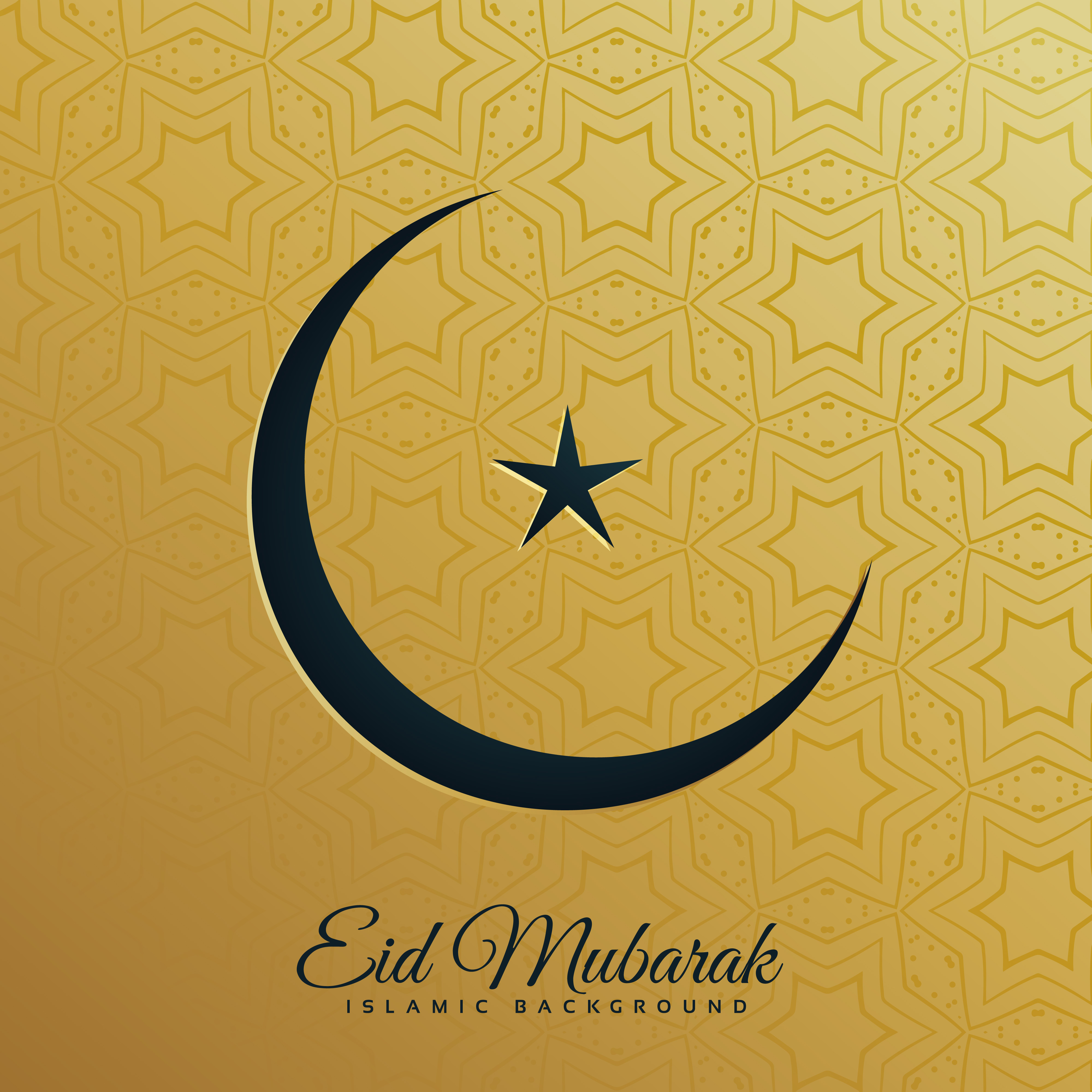 Crescent Moon And Star On Golden Background For Eid