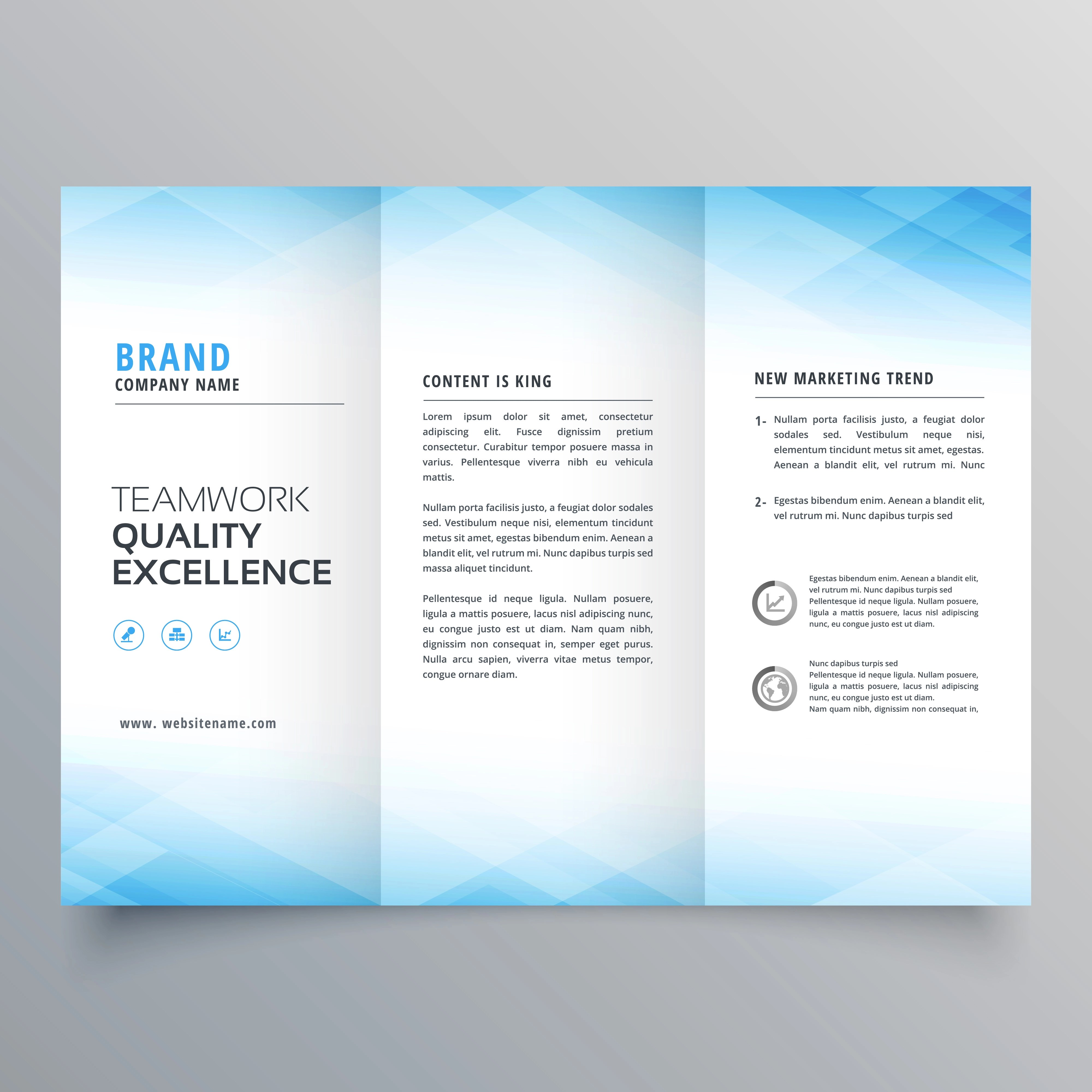 elegant blue trifold brochure flyer design template  Download Free Vector Art Stock Graphics