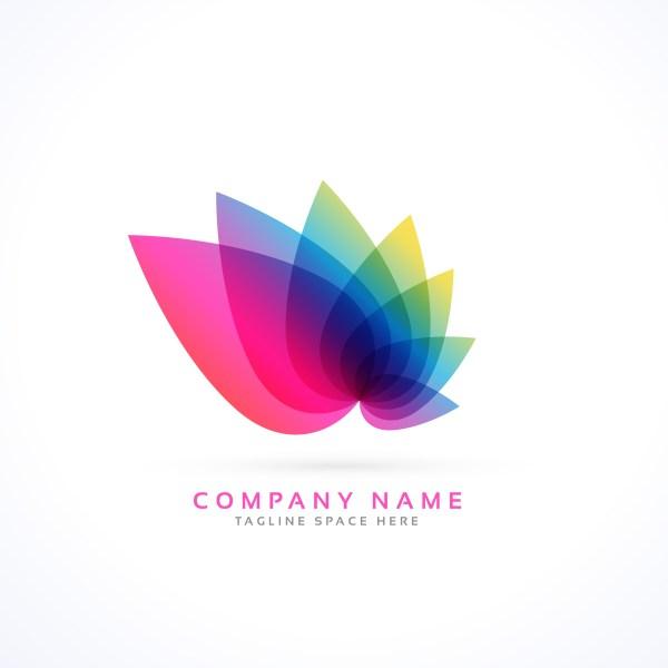 Colorful Petals Flower Logo Concept - Free Vector Art Stock Graphics &