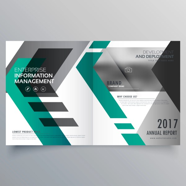 Brochure Layout Template Design With Geometric Shapes