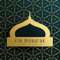 elegant eid mubarak greeting card design with islamic