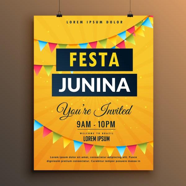 Festa Junina Invitation Poster Design With Garlands - Free Vector Art Stock Graphics