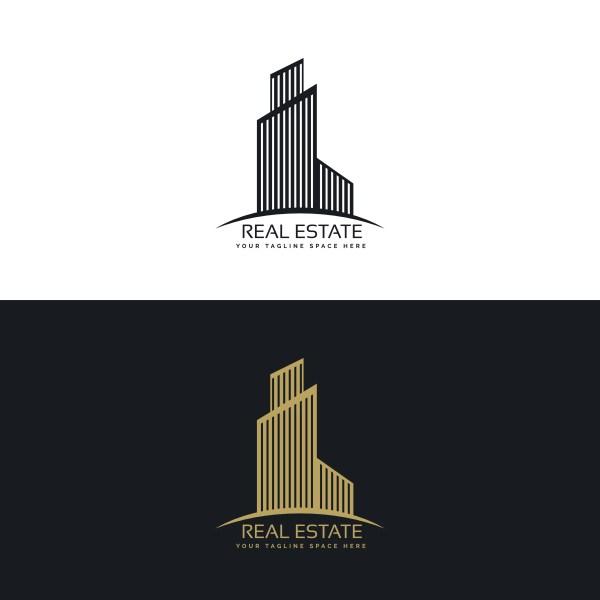 Black and White Real Estate Logo