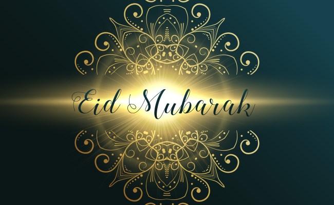 Eid Mubarak Muslim Festival Greeting Card Design With