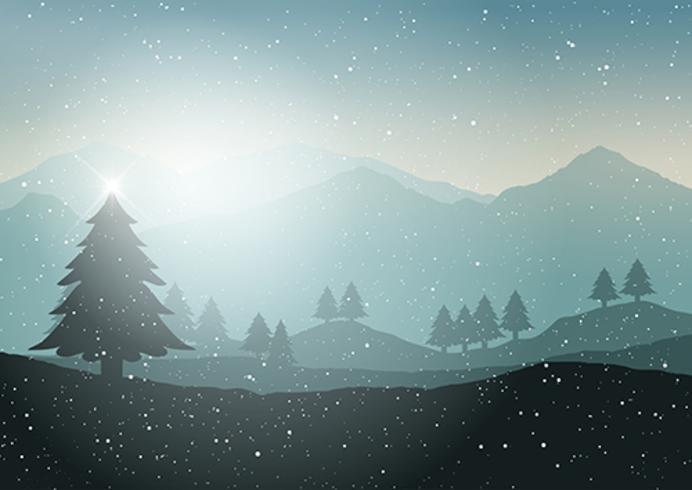 Free Snow Falling Wallpaper Winter Christmas Tree Landscape Download Free Vector Art