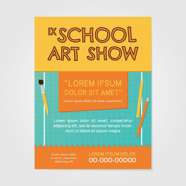 School Art Show Invitation - Free Vector