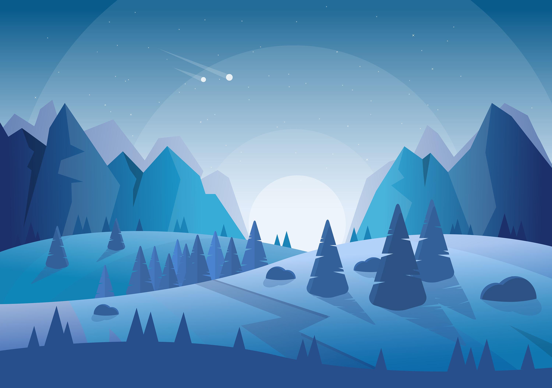 Vector Blue Landscape Illustration Download Free Vector