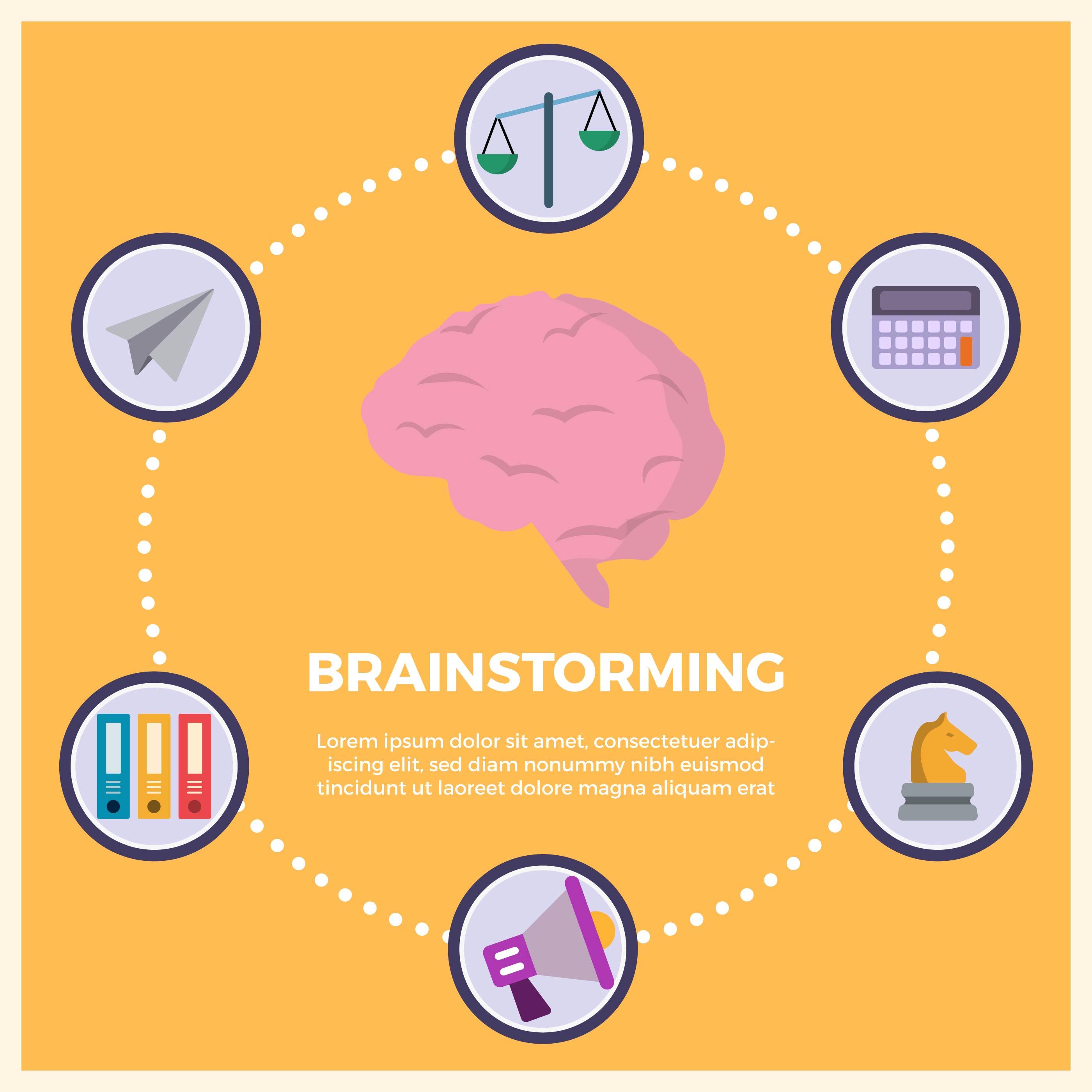 Flat Business Brainstorming Vector Illustration