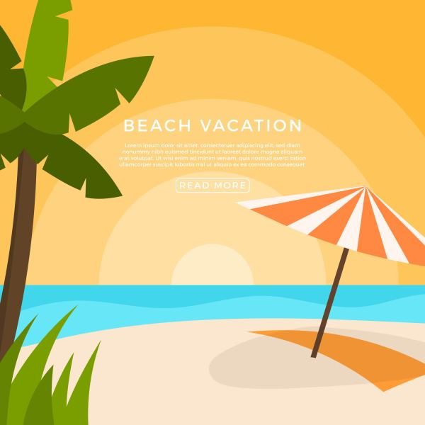 Flat Beach Vacation Vector Illustration - Free