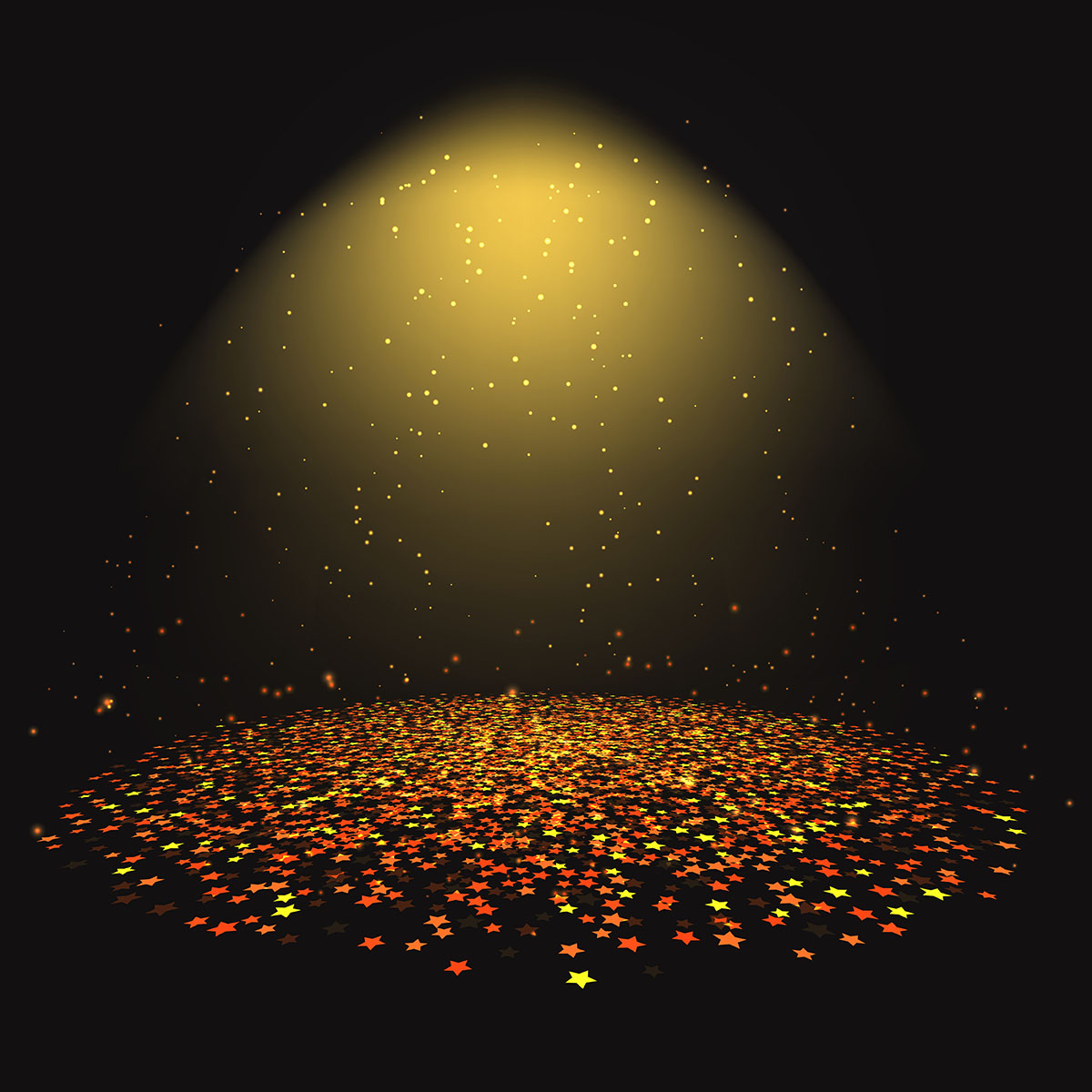 Gold Star Confetti Under A Spotlight Download Free