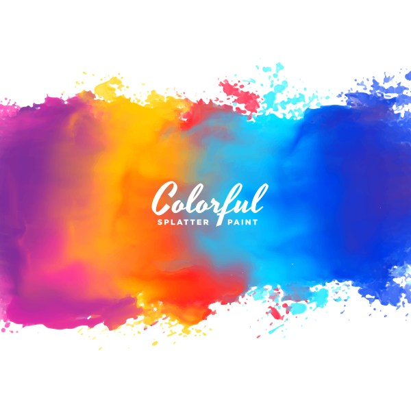 Watercolor Background Hand Paint Splash In Colors - Free Vector Art Stock