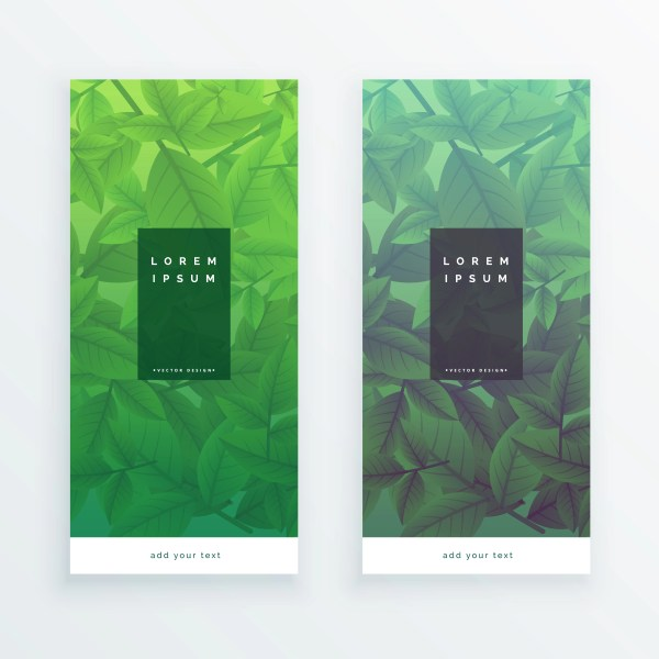 Vertical Banners Of Green Leaves - Free Vector