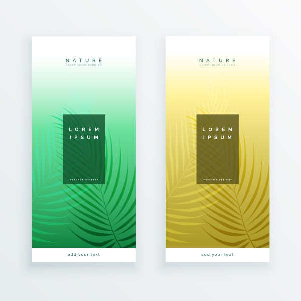 Two Vertical Leaves Banner Design - Free Vector