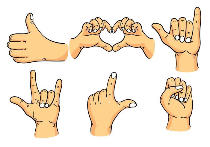 hand drawn hand gestures