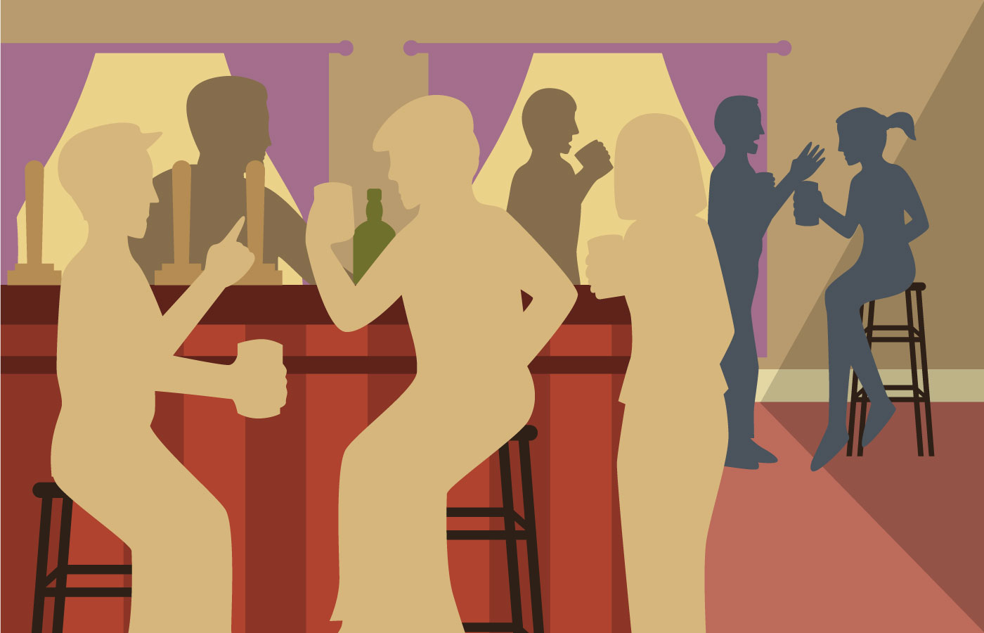Crowded Bar Silhouette Clip Art  Download Free Vector Art