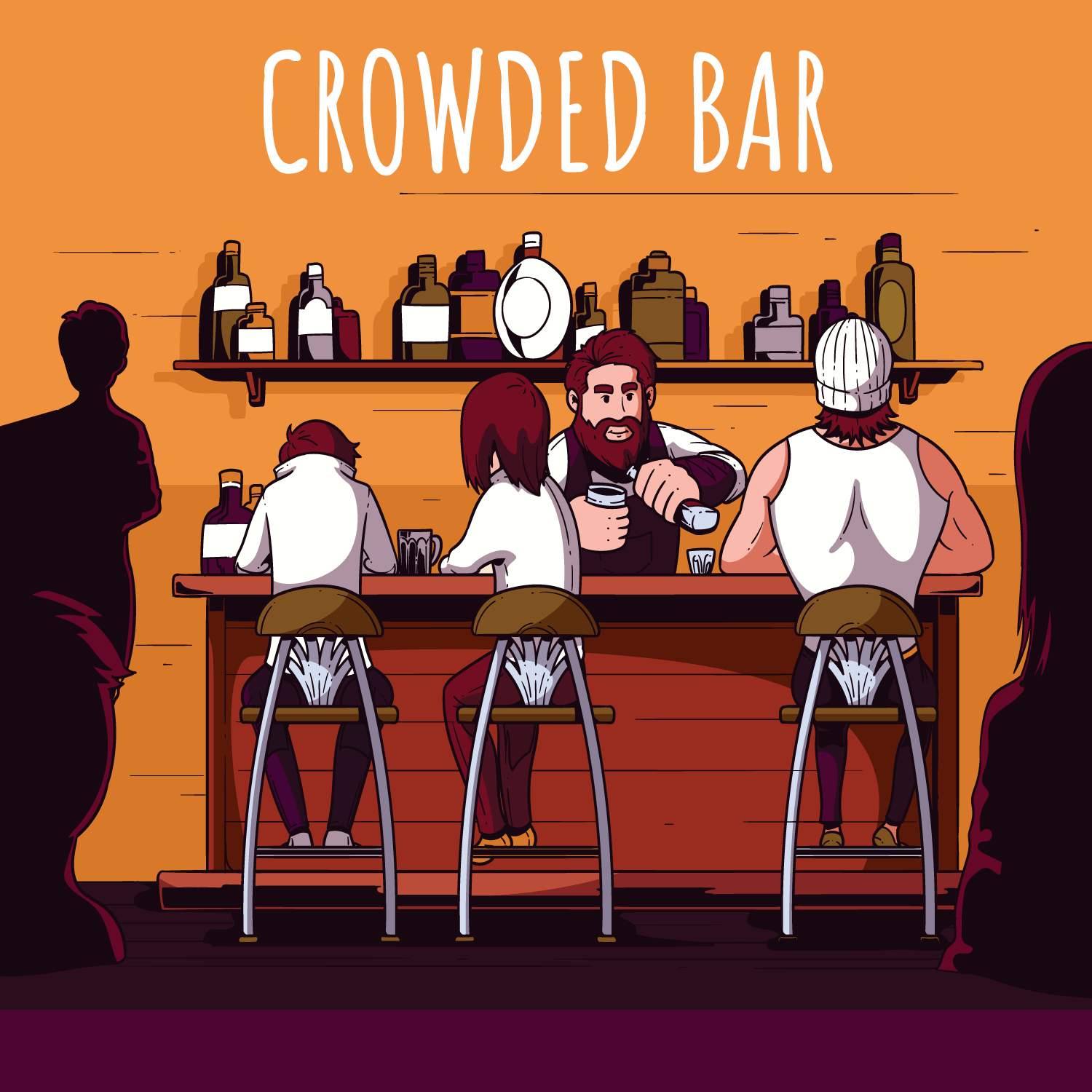 Crowded Bar Illustration  Download Free Vector Art Stock Graphics  Images