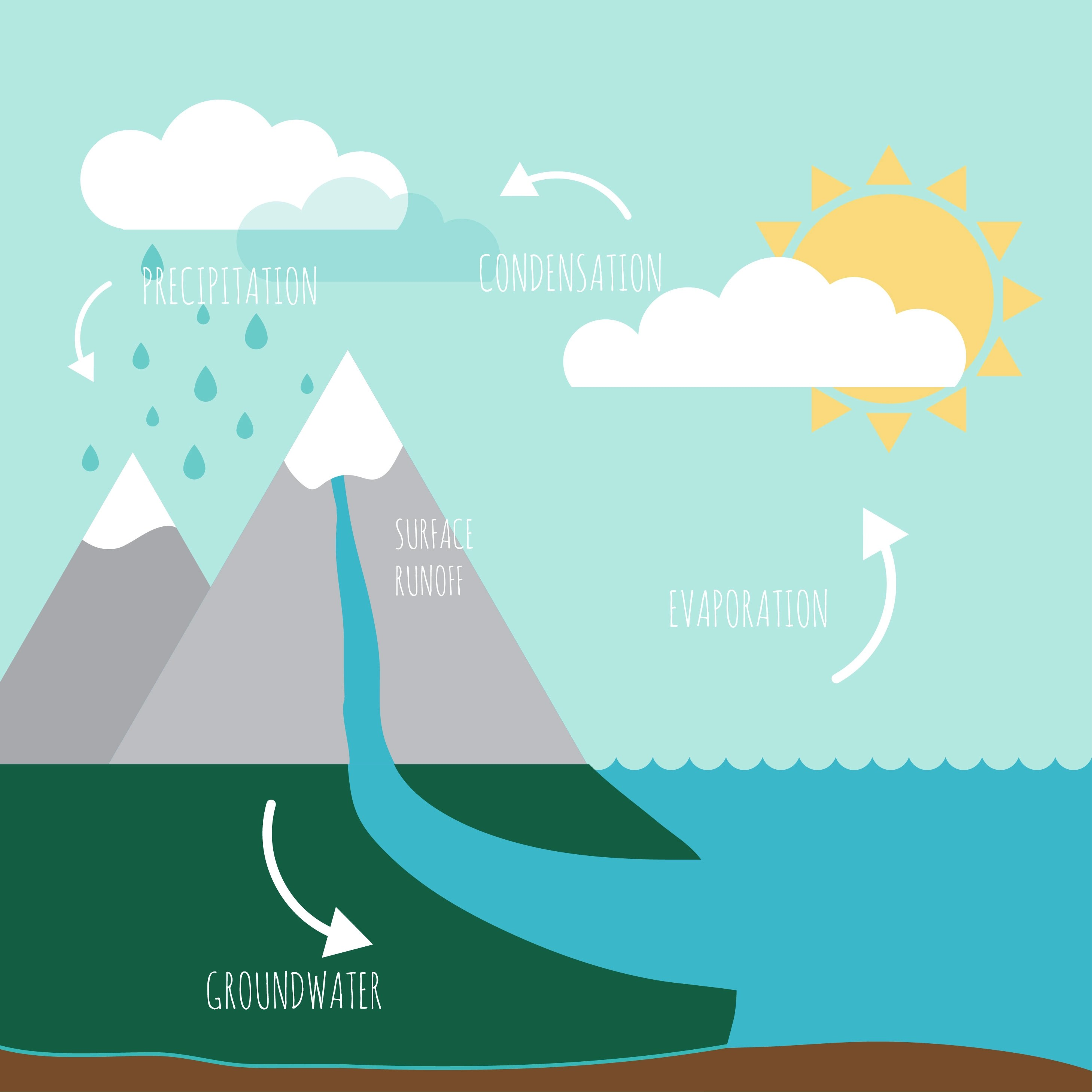 Water Cycle Infographic Free Vector Art