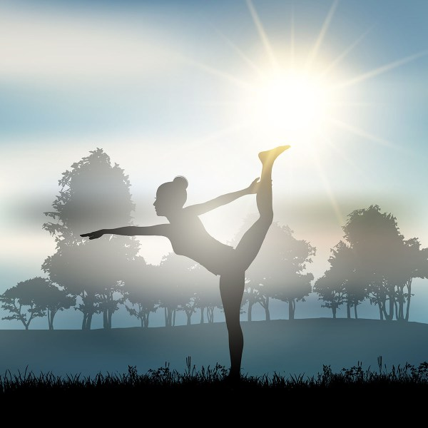 Female In Yoga Pose Countryside - Free Vector