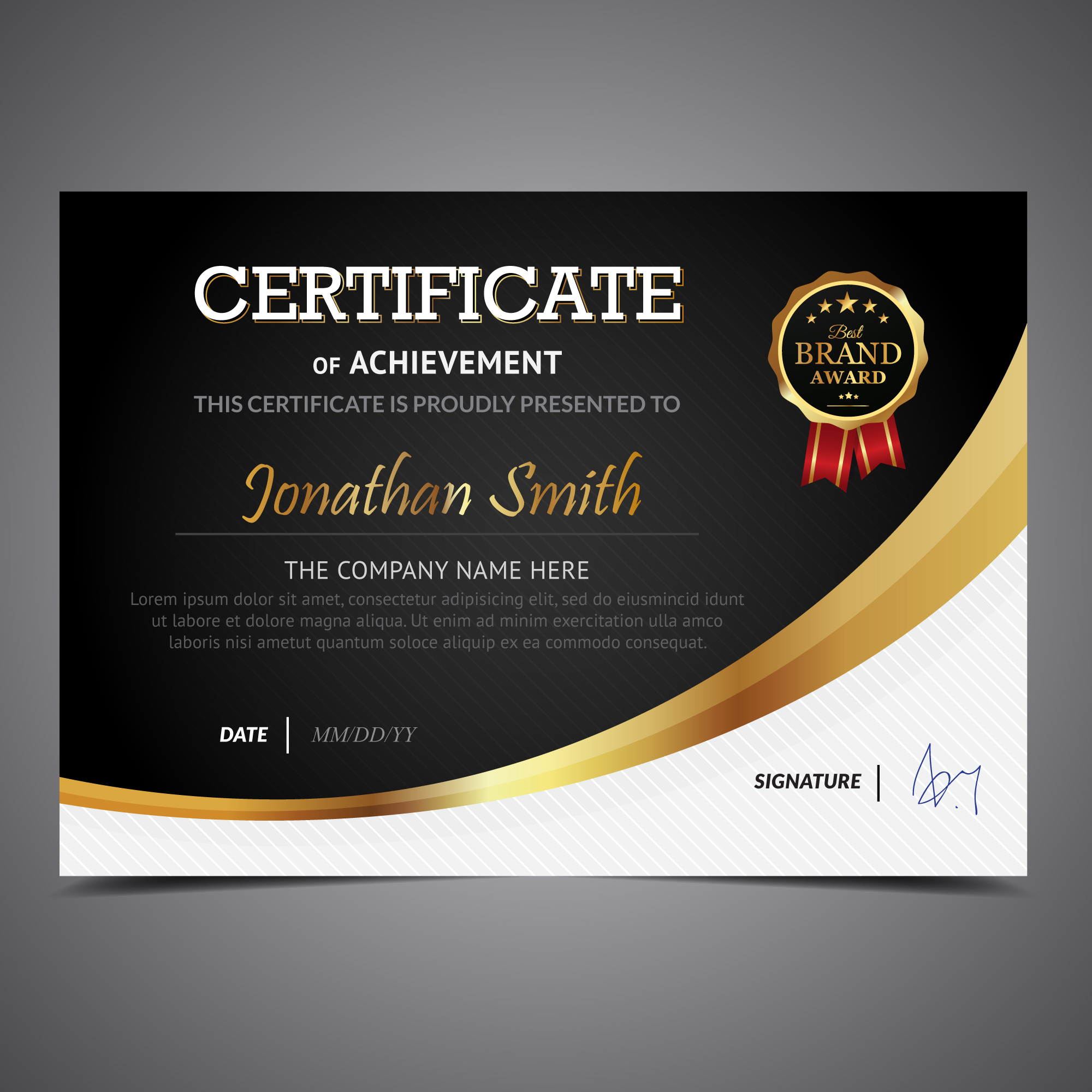 And Gold Certificate Border Black