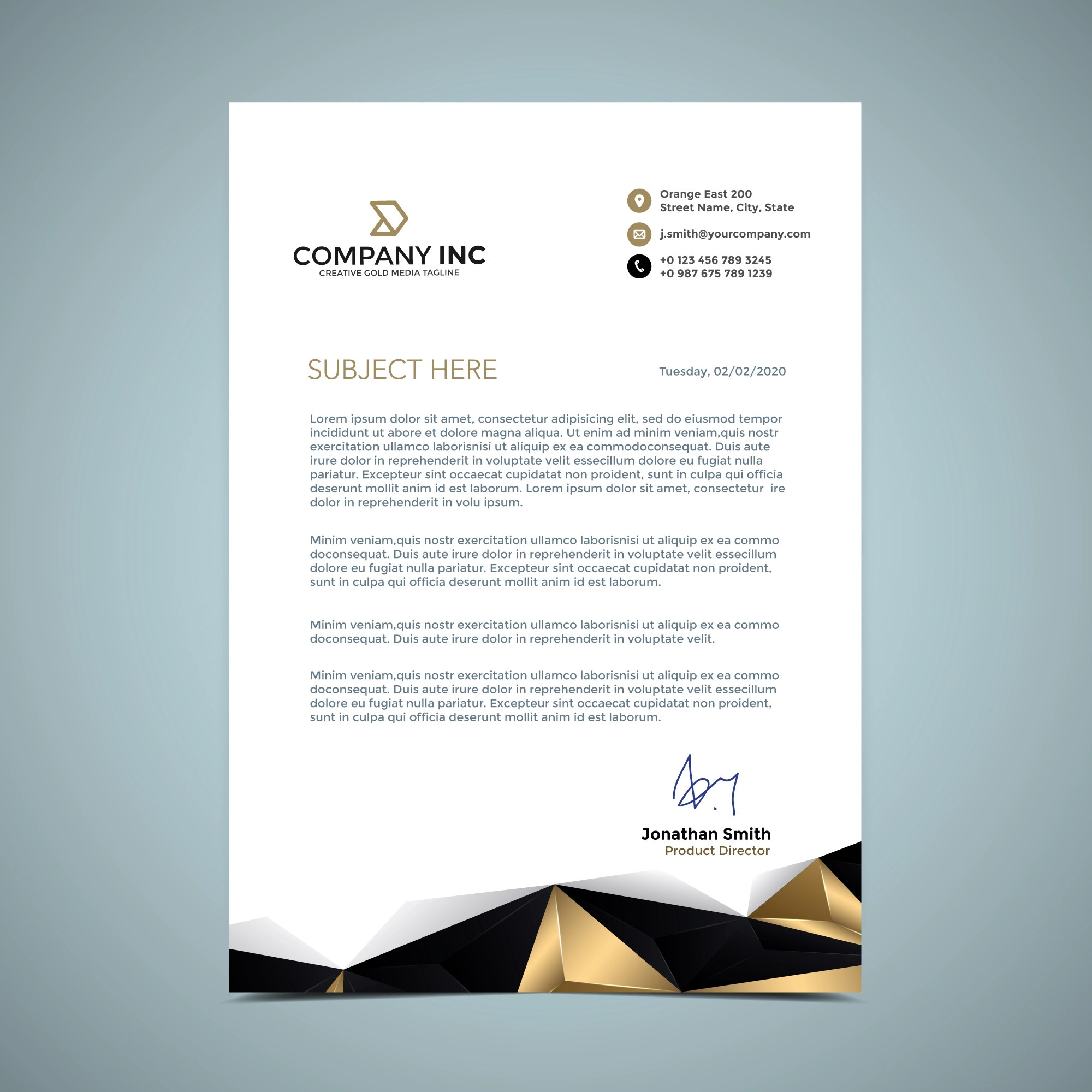 Golden Letterhead Design  Download Free Vector Art Stock Graphics  Images
