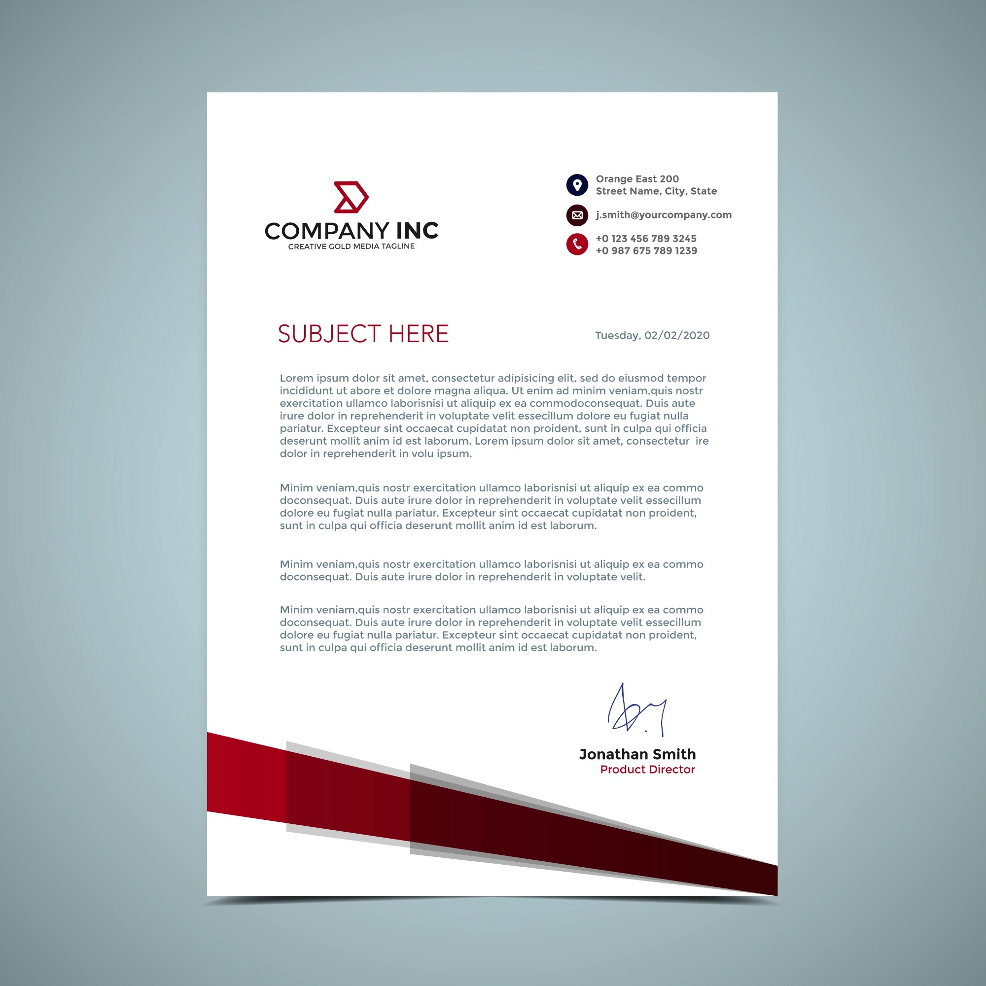 Red Letterhead Design  Download Free Vector Art Stock Graphics  Images