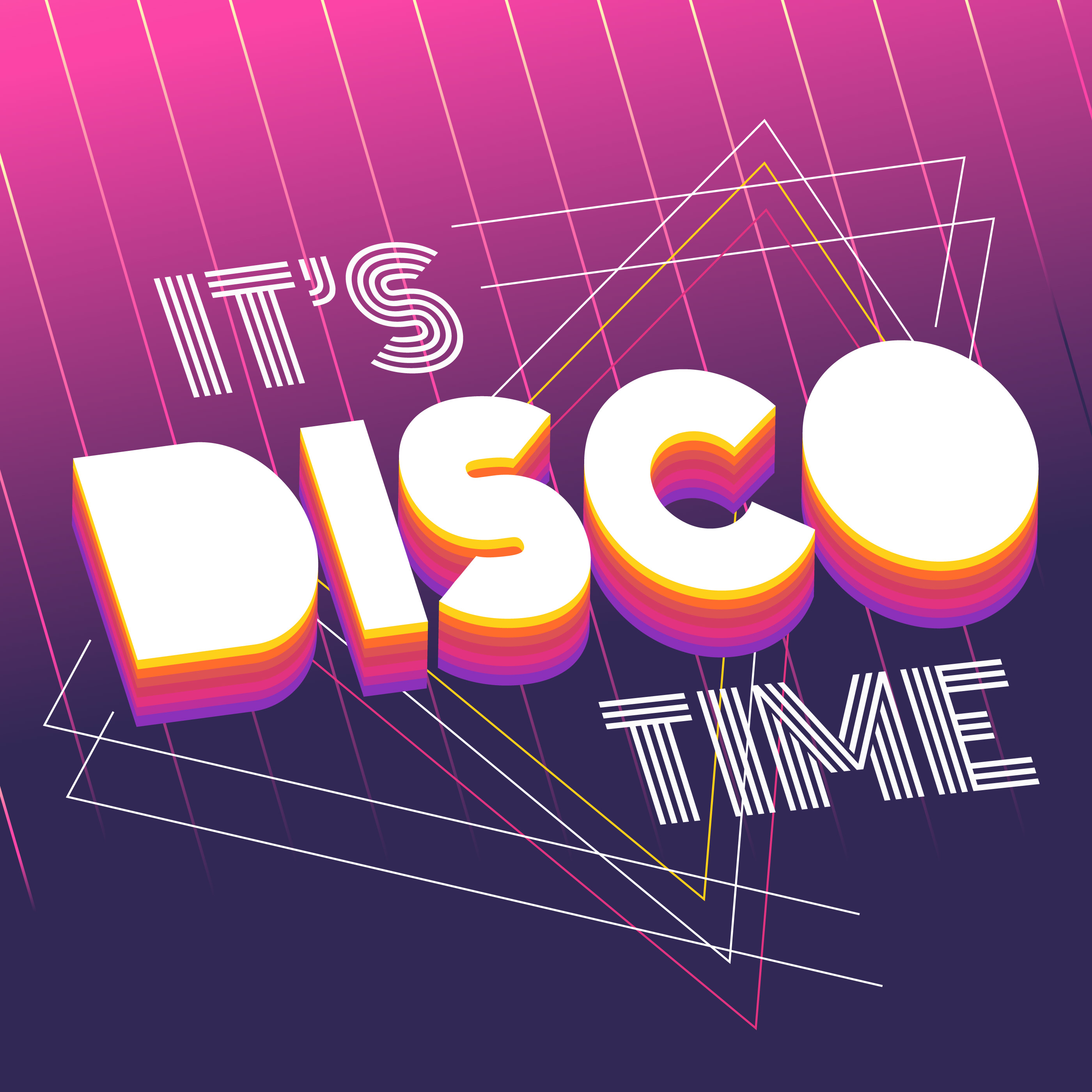 Its Disco Time Typography  Download Free Vector Art