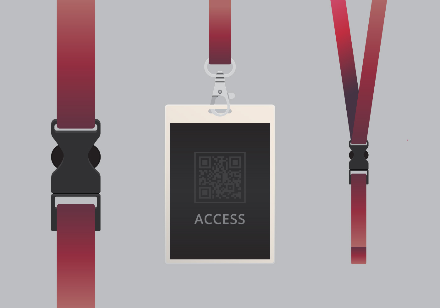 VIP Pass ID Card Template Realistic Blank Vertical ID With Purple Ribbon Mockup Download