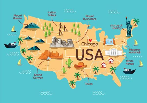 United States Landmark Map Download Free Vectors