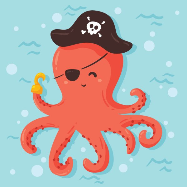 Pirate Octopus Vector - Free Vectors Clipart