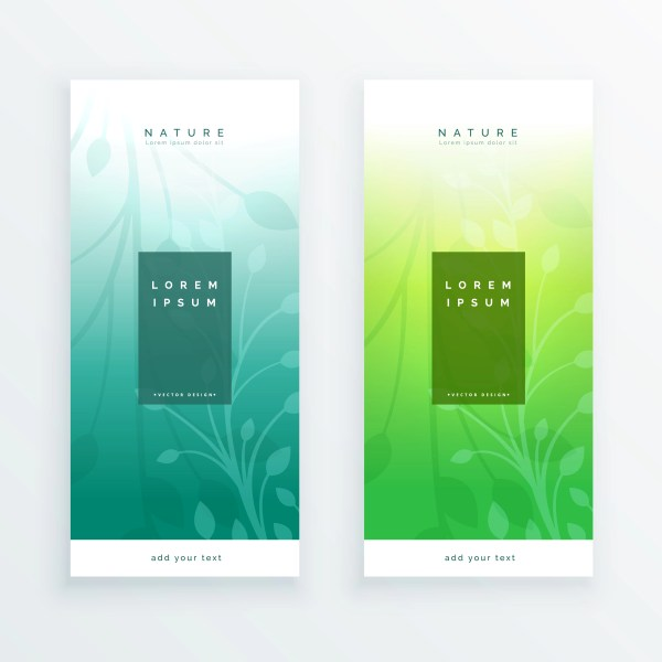 Elegant Leaves Vertical Banners Set - Free Vector