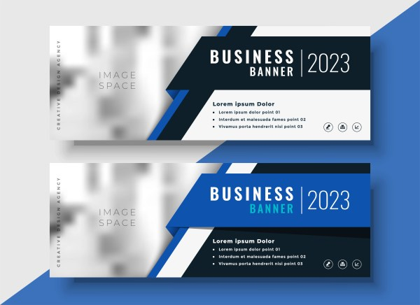 Professional Blue Business Banners With Space