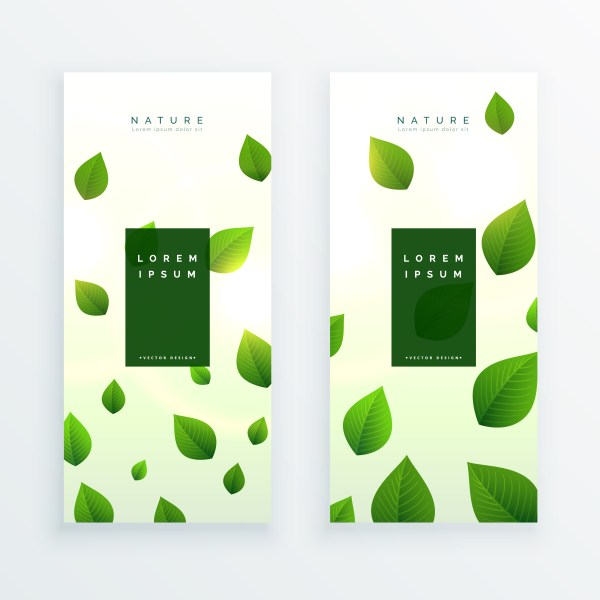 Beautiful Green Leaves Vertical Banner Card