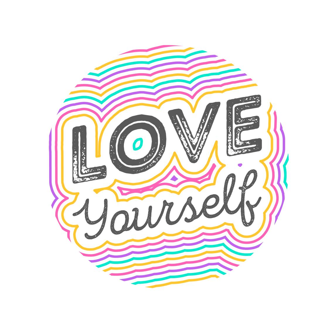 Flat Love Yourself Lettering Typography Style Vector ...
