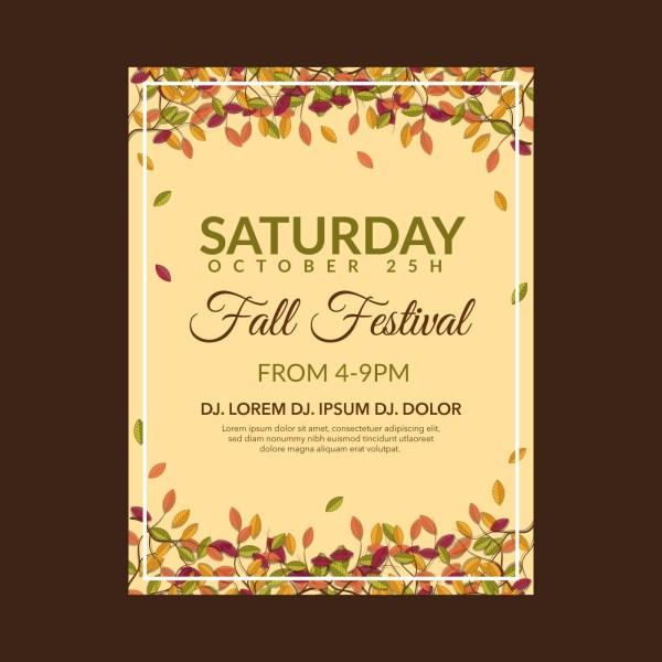 Fall Festival Flyer Template - Free Vector Art Stock Graphics &