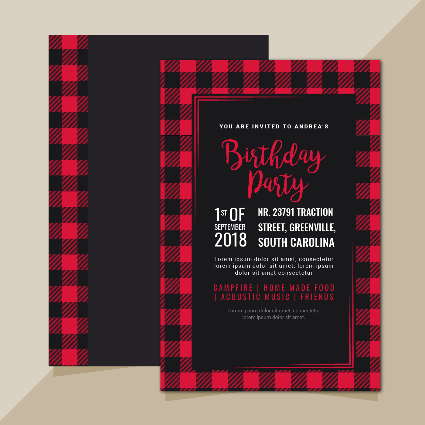 Vector Invitation With Buffalo Plaid Pattern Download Free Vector Art Stock Graphics Amp Images