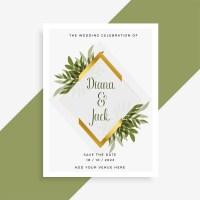 elegant wedding card design with frame of leaves ...