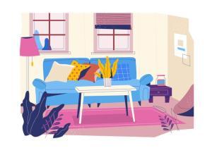 background setting illustration cozy flat livingroom vector minimalism clipart edit