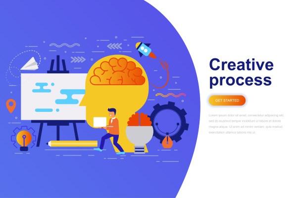 Creative Process Modern Flat Concept Web Banner