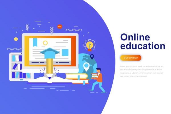 Online Education Modern Flat Concept Web Banner