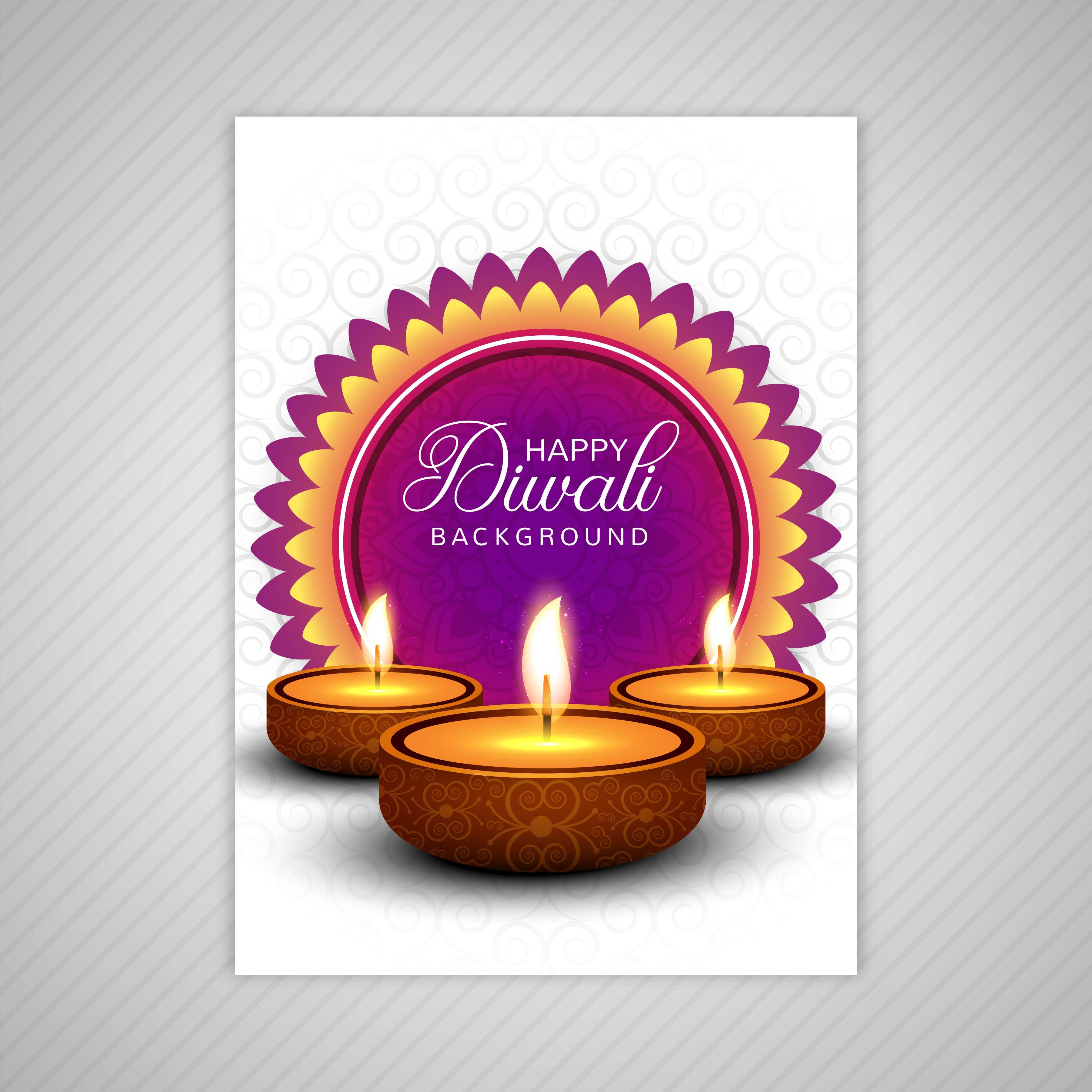 Decorative Diwali Greeting Card Template Design