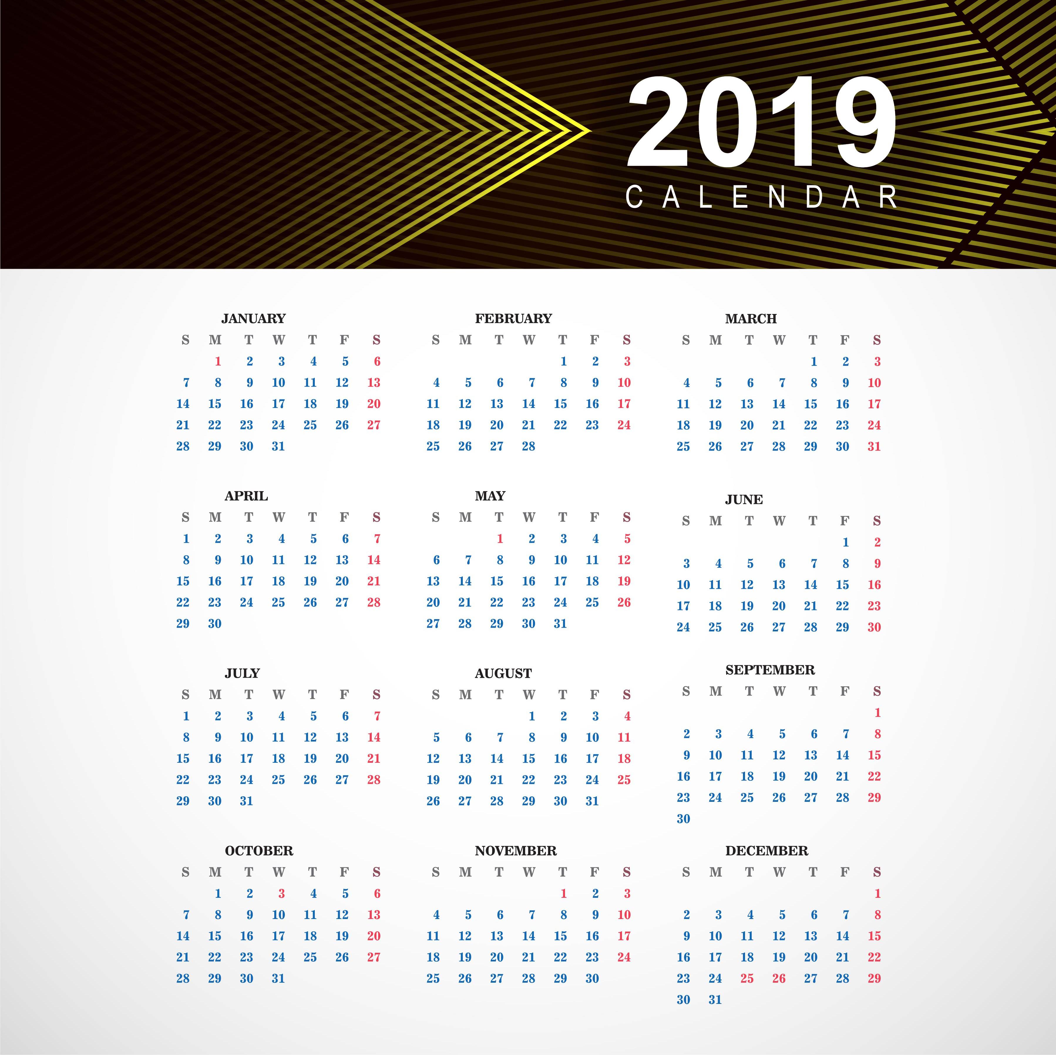 event calendar template 2019