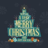 Mid Century Modern Merry Christmas Greeting Card. Vector ...