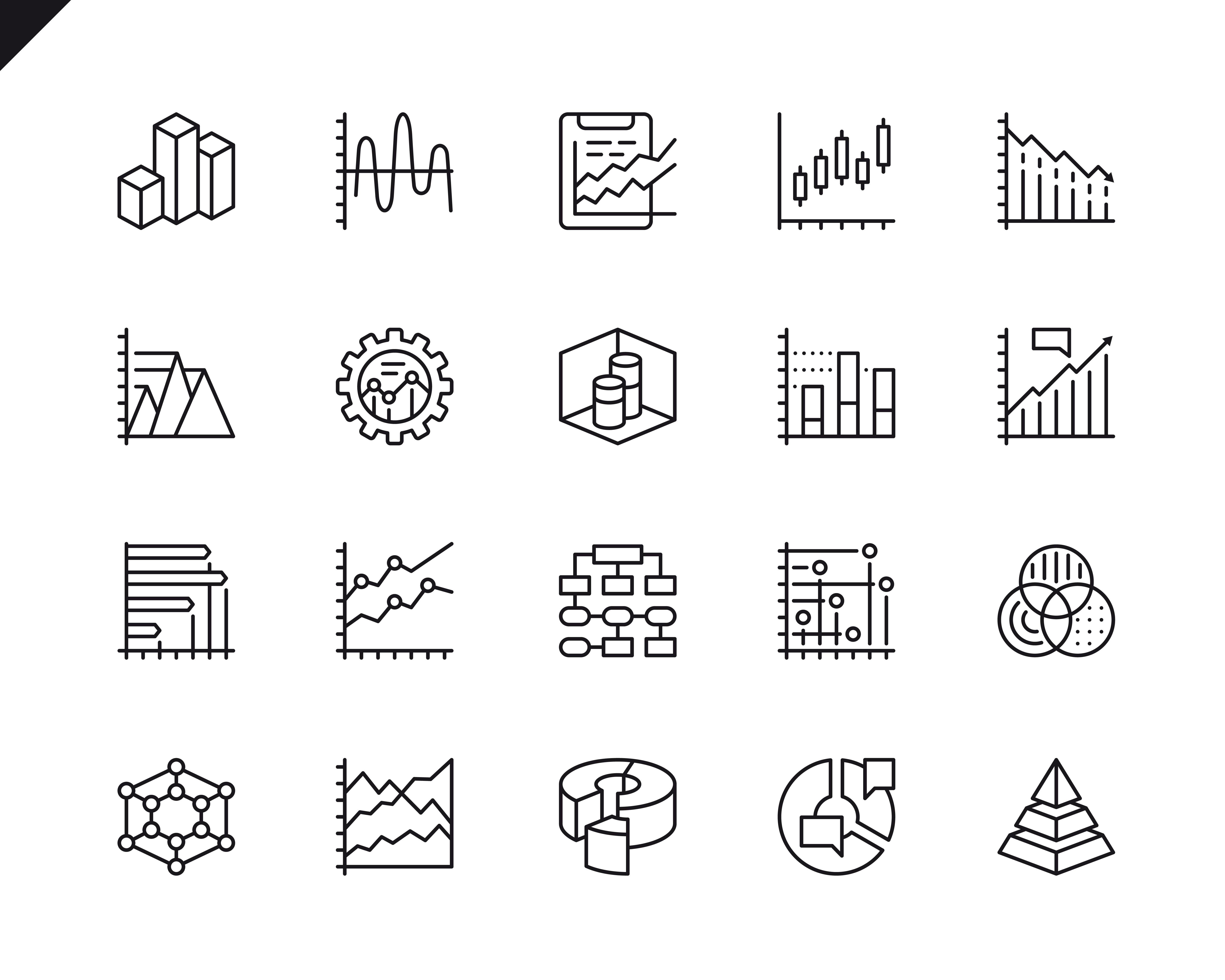 Simple Set Of Charts And Diagrams Related Vector Line