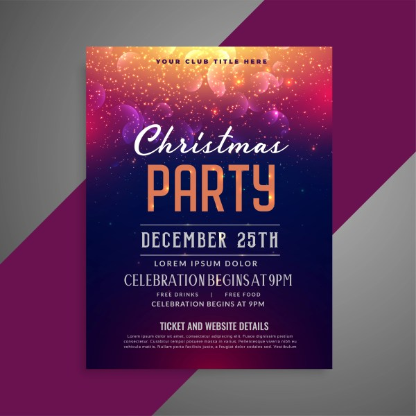 Merry Christmas Sparkles Party Poster Flyer Design Template - Free Vector Art Stock