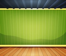 Empty Room With Striped Wallpaper - Free Vectors