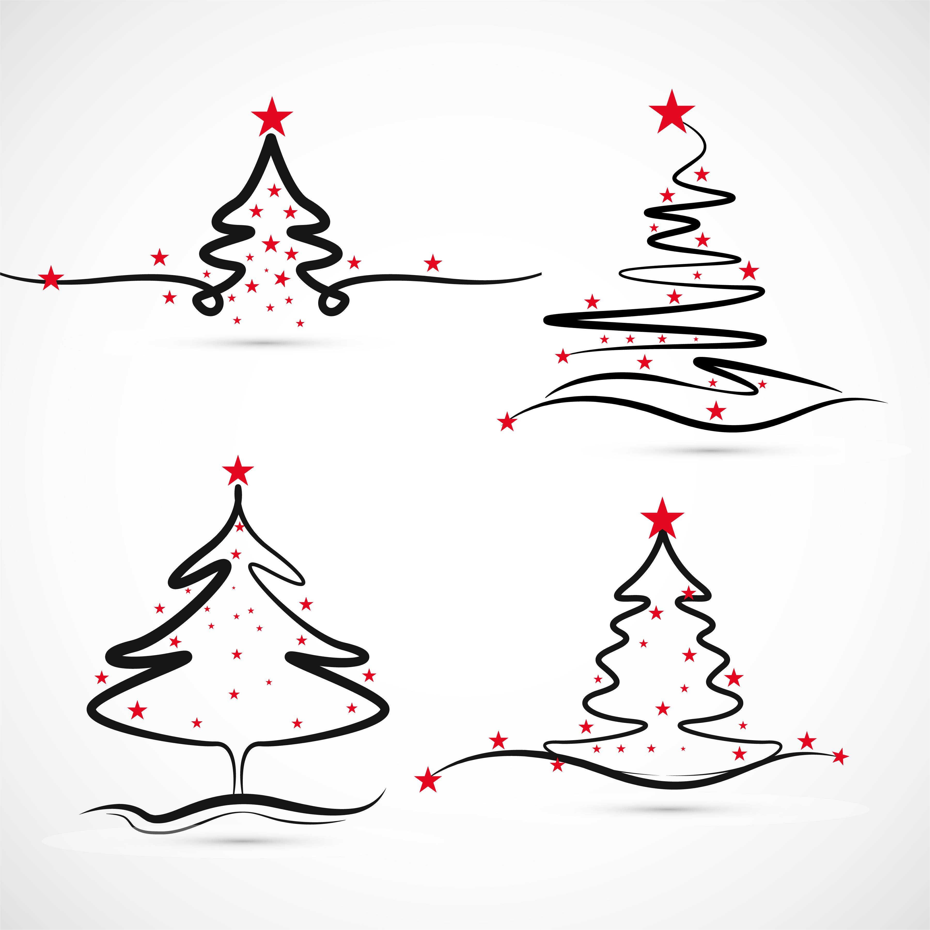 Elegant Merry Christmas Tree Set Design Vector