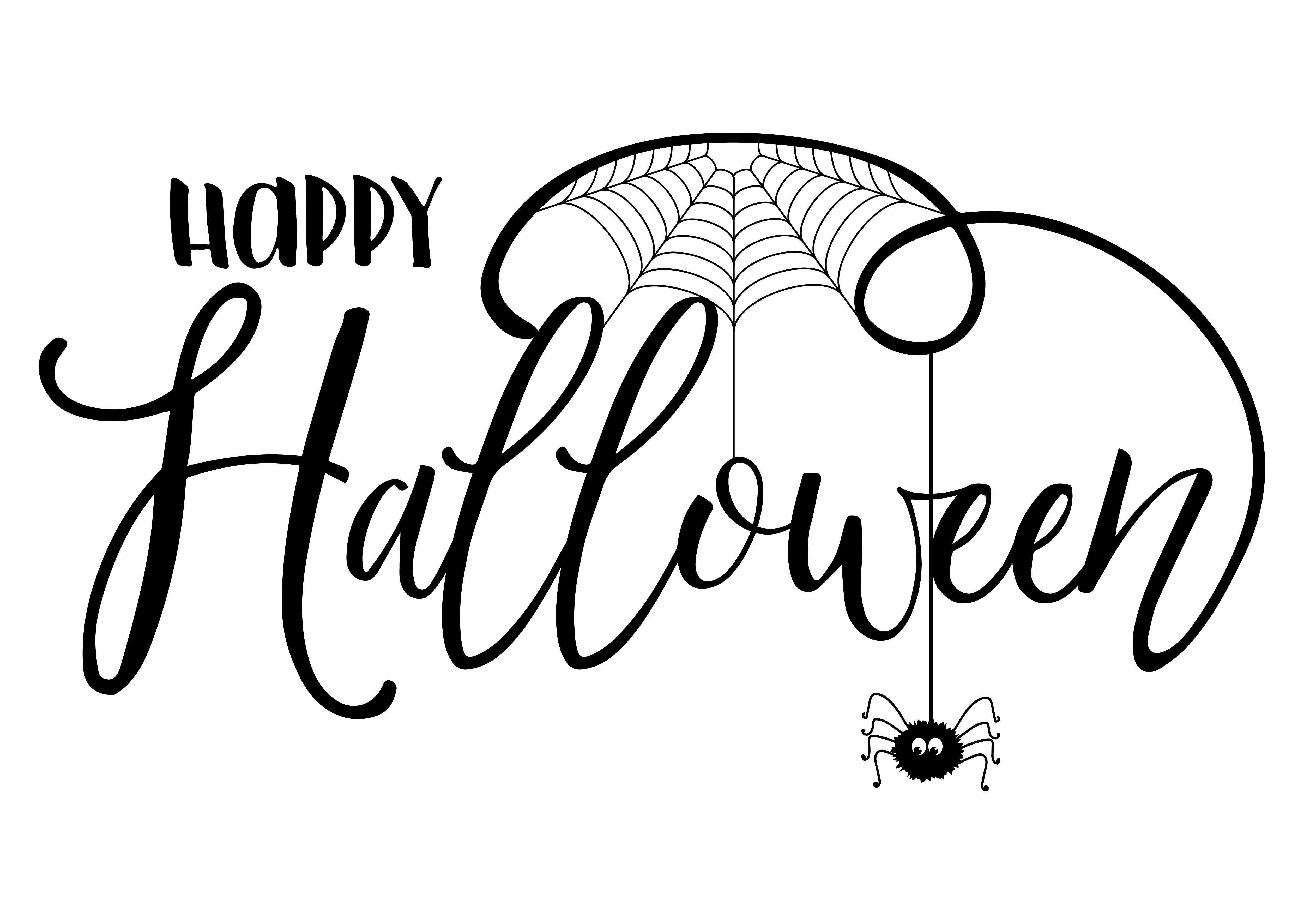 Halloween Text Background With Spider And Cobweb Vector