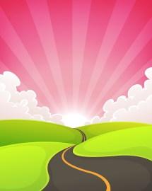 Road Snaking Dawn Landscape - Free Vectors