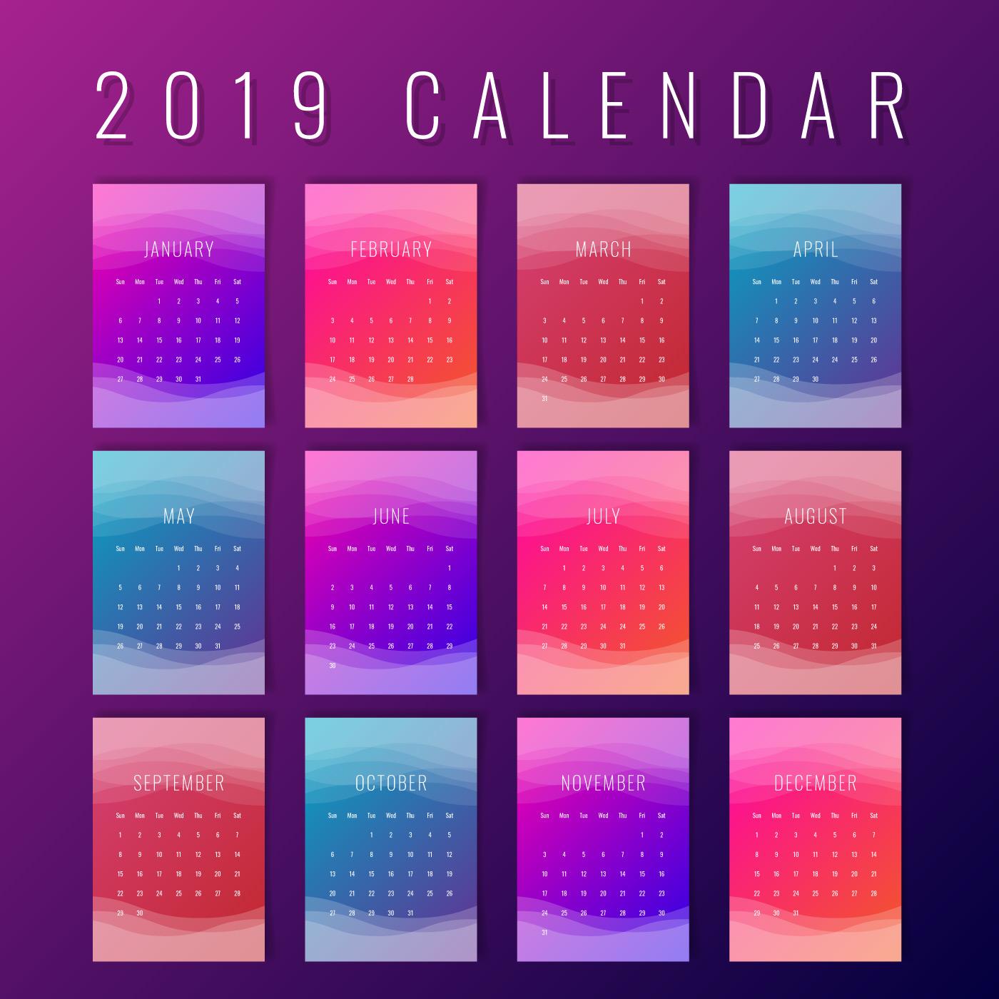 Calendar Colorful Printable Creative Templates