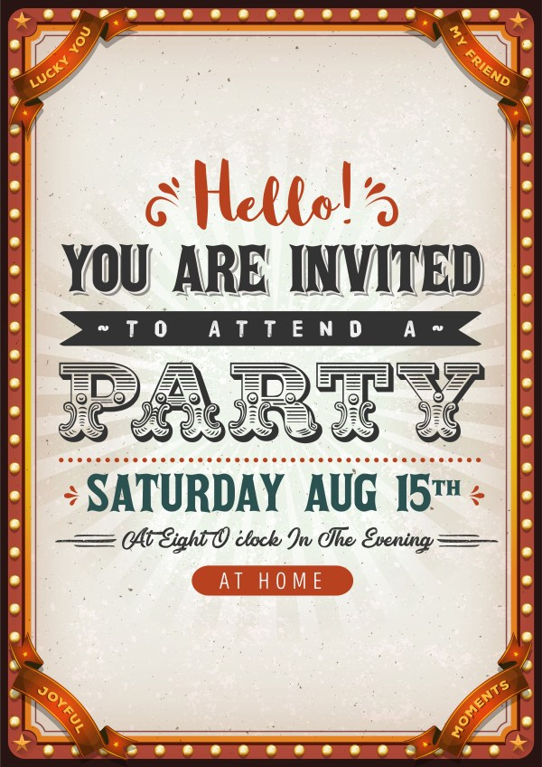 Vintage Party Invitation Card - Free Vector Art